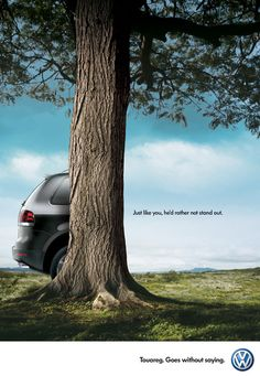 Volkswagen advertising. While we understand where they're going with this, we're not really sure that consumers base their vehicle driving decision on this attribute. In addition, now they have an ad where only 20% of the car is visible, which may make it hard for consumers to know what the car actually looks like.