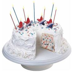 "Filled With Pride Cake - Grab guests' eyes with a cake punctuated with ""born in the U.S.A."" spirit. Mix Patriotic Sprinkle Sparks into angel-food cake batter for a fireworks effect that mirrors the sparkling show staged up top."