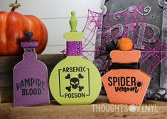 Halloween Potion Bottles : DIY wooden Halloween Potion Bottles craft kit / wood craft / perfect for Halloween fun You can paint or decorate this cute craft kit with scrapbook paper. Fall Wood Crafts, Halloween Wood Crafts, Trendy Halloween, Fun Diy Crafts, Halloween Signs, Halloween Party Decor, Holidays Halloween, Halloween Ideas, Happy Halloween