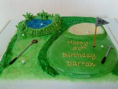 Golf Cake made by Annie Thomas Golf Course Cake, Golf Party, Golf Stuff, How To Make Cake, Party Planning, Annie, Birthdays, Drink, Desserts