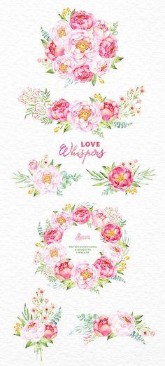 Liebe flüstert: 6 Aquarell-Bouquets und 1 Kranz von OctopusArtis
