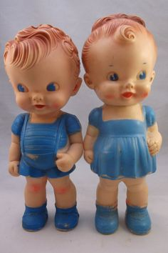 2 Vintage 1950 s Rubber Squeaky 8 Dolls Sun Rubber by retroricks, $45.00