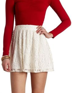 High-Waisted Solid Cotton Skater Skirt: Charlotte Russe Pair with ...