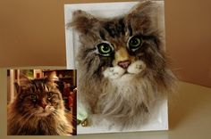 Cat Personalised portrait Needle felted Cat von MinzooNeedleFelting