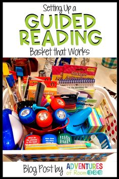 How to set up a Guided Reading basket! Get your students excited about diving into a book and teach them to use different tools to enjoy their guided reading journeys! This is a motivating activity for early readers! Guided Reading Questions, Guided Reading Activities, Guided Reading Lessons, Guided Reading Groups, Reading Centers, Reading Workshop, Reading Skills, Reading Resources, Guided Reading Strategies