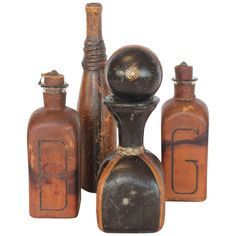 Collection of Vintage Leather Bottles 1