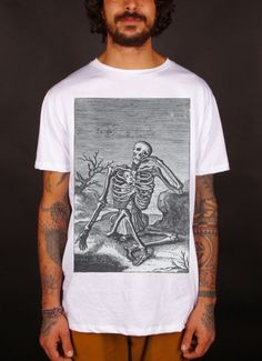 """T-shirt bianca mod. """"Mortal Body"""" esoteric, hipster, urban style, 100% cotton, made in Italy"""