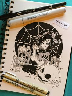 INKTOBER DAY 28: Spider tea time, ahuhuhuhu~ | More inktober and artworks |