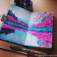 Cherry blossom-lined lake India ink painting.  Dr. Ph. Martins Bombay India inks…