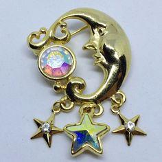 Signed KIRKS FOLLY Vintage MOON FACE STAR BROOCH PIN Aurora Borealis Rhinestone #KirksFolly $5.00 Sale! #ebay #bringbackthebrooch