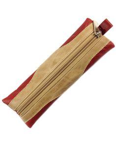 Red and Beige Leather Pen Case @ ThePrestigeShop.com