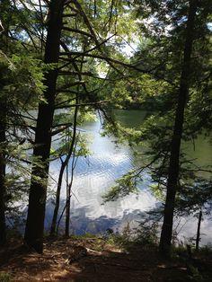 Hike in lake house woods