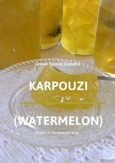 "Glyko Karpouzi is a fruit preserve made with the rind of watermelon (karpouzi) in Greek. These fruit preserves are called ""Glyka tou Koutaliou"". Greek Sweets, Greek Desserts, Greek Recipes, Watermelon Rind Preserves, Fruit Preserves, Carmel Recipe, Sweet Watermelon, Edible Gifts, Cookbook Recipes"