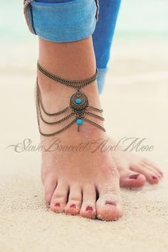 anklet foot jewelry bronze with two turquoise beads boho bohemian hippie ethno body jewelry A07