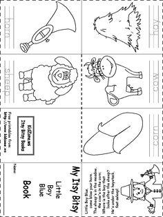 Itsy Bitsy Foldable Book - Little Boy Blue Nursery Rhymes Kindergarten, Rhyming Kindergarten, Nursery Rhyme Crafts, Kindergarten Language Arts, Preschool Activity Books, Rhyming Activities, Preschool Lessons, Preschool Farm, Mini Books