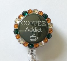 Coffee Lovers Decorative Badge/ID Holder with Charm by Lindasbadgeboutique on Etsy