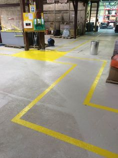 Creating clear paths to first aid and eye wash stations at Algoma Central Properties - Air Painters - Niagara's Commercial, Residential and Institutional Painter