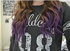 purple tips...maybe if I had brown hair.. Hair Colors, Brown And Purple Hair Color, Bang Hairstyl, Hairstyle Ideas, Brown Hair Color Purple Tips, Brunette Hair, Hair Care, Hair Looks, Dip Dyed Hair