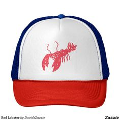 Red Lobster Trucker Hat  Available on many more products! Just type in the name of the design in the search bar on my Zazzle products page to see them all!  #lobster #red #swim #ocean #hat #cap #sun #shine #creature #fish #fishing #sea #swimming #under #the #water #floor #illustration #design #cartoon #drawing #cool #hip #chic #modern #style #contemporary #art #zazzle #buy #sale #for #trucker #hat