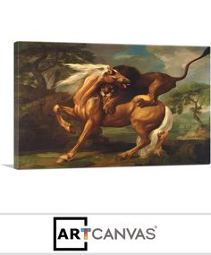 Ready-to-hang A Lion Attacking a Horse 1762 Canvas Art Print for Sale canvas art print for sale.