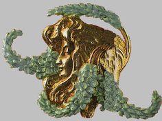 René Lalique bijoux. 1899 Brooch. 'Profil et féminin Veronica longifolia' (speedwells). Gold and enamel