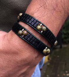 Double Wrap Bracelet, Unakite, Black Miyuki, Silver Miyuki, Silver Celtic Knot Clasp, Mens, Unisex by CupidsMoonJewelry on Etsy