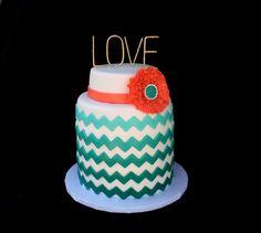 Love chevron ombre cake