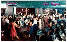 THE FLAMINGO casino*1940/50s Gaming floor*Vintage Las Vegas hotel post card #A9