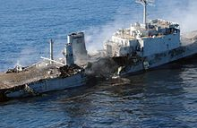 """""""USS SCHENECTADY"""" (LST-1185) was a (523') Newport Class Tank Landing Ship - Commissioned: 13 Jun 1970 – Crew: 14 Officers and 241 Enlisted + Marine Detachment: 18 Officers and 289 Enlisted - Decommissioned: 15 Dec 1993 and Laid up in Reserve at Naval Inactive Ship Maintenance Facility Pearl Harbor, Hawaii - Sunk as Target 23 Nov 2004 in Operation """"Resultant Fury"""", the First Time a B-52 Dropped Self-Designated, Laser Guided Weapons on a Moving Ship. (2)"""