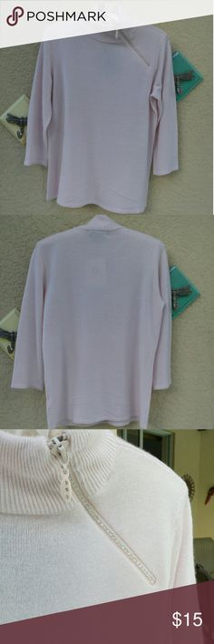 """Soft Pink Sweater Size S NWT Pretty 100% acrylic sweater. Very soft. The turtleneck boasts an embellished zipper. Measuring 17.5"""" across bust and 24"""" length. The sleeve is 17.5"""".  Designer Originals Sweaters Cowl & Turtlenecks"""