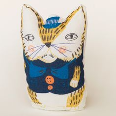Cat Yellow by Ulrika Gustafsson Digitally printed. Cotton, filled with cotton wool.