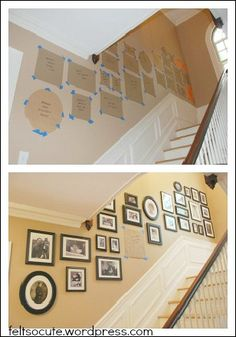 "Cut out craft paper and use painters tape before putting up the photos. I am doing this for my wall!"" Photo Collage Ideas <> (good ideas, helpful hints, DIY, tips) Hanging Pictures, Deco Design, Photo Displays, Stairways, Home Projects, Gallery Wall, Stairway Gallery, Stairway Photos, Sweet Home"