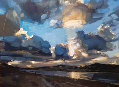 Холодный вечер / Cold evening by Abstract Landscape Painting, Landscape Art, Landscape Paintings, Lake Painting, Expressive Art, Sky Art, Devon, Land Scape, Art Images