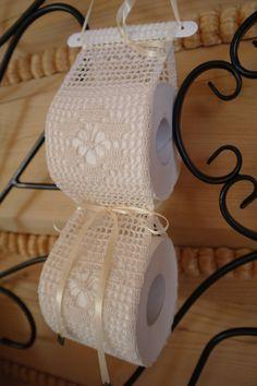 Cream crochet paper toilet holder by ZoZulkaart on Etsy