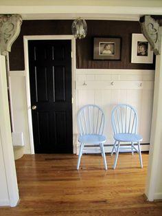 The Painted Home: { B e a d B o a r d & B u r l a p } Black door and white trim