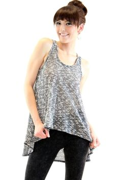 High Low Sleeveless Knit Top