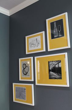 Gray Wall, Yellow and White Art Modern Interior Design #s2d | S Squared Design | Houston