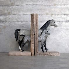 Mare And Foal Bookend Gray - make with other figurines - & spray paint maybe