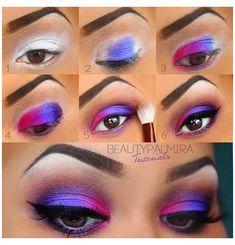 80s Eye Makeup, Pretty Eye Makeup, Eye Makeup Steps, Colorful Eye Makeup, Love Makeup, Makeup Inspo, Eyeshadow Makeup, Hair Makeup, Makeup Ideas