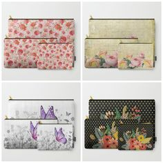 #girly #carryallpouch #flowers #floral in different designs. It can be bought in a set or you can buy it per piece & size. Check more at society6.com/julianarw