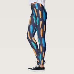 modern retro orange and blue pattern leggings - valentines day gifts love couple diy personalize for her for him girlfriend boyfriend