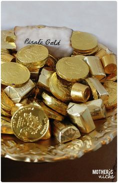 Gold Chocolates for pirate gold + Other fun pirate party ideas