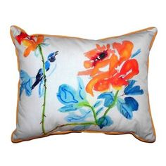 Bird & Roses Extra Large Zippered Indoor or Outdoor Pillow 20x24 Extra large indoor/outdoor pillows with a zippered cover and a removable polyfill insert. Square pillows measure 22x22 and rectangular pillows measure 20x24.