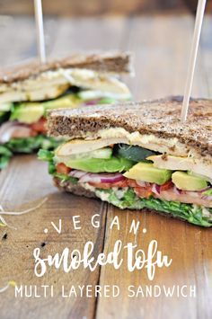 This recipe for a Vegan Smoked Tofu Multi Layer Sandwich makes a great lunch with sweet potato fries, or even a light dinner with tons of vitamins! Vegetarian Lunch, Lettuce, Tofu, Sweet Potato, Punch, Fries, Sandwiches, Vegan Recipes, Veggies