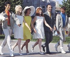 George Chakiris, Catherine Deneuve, Danielle Darrieux, Françoise Dorléac, Michel Piccoli, Grover Dale. Les Demoiselles de Rochefort team. #movie #vintage
