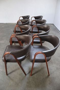 Anonymous; Bent Teak Chairs by Thonet, 1950s.