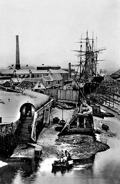 The ferry terminal at Middleton .Grays shipyards behind all long gone. Seaside Art, British Seaside, Bishop Auckland, Historical Pictures, Tall Ships, Old Pictures, Paris Skyline, Places To Visit, England