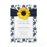 I found this whole set of wonderful navy and sunflower wedding paper products. Lovely!