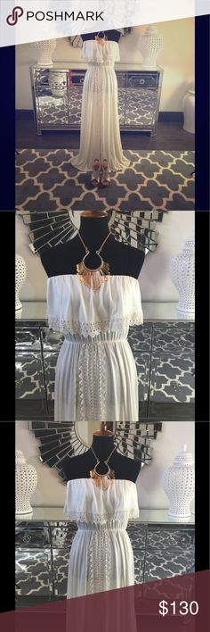 L Space Lace Trim Maxi Dress Stunning L Space lace trim Maxi dress. New with tags. Mint condition. Sexy front slit. Perfect for your next beach vacation! L Space Dresses Maxi