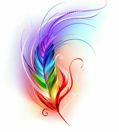 Rainbow feather on white. Artistically painted rainbow feather on a white backgr , Feather Drawing, Feather Tattoo Design, Feather Painting, Feather Art, Feather Tattoos, Body Art Tattoos, Heart Painting, Flower Tattoos, Tattoo Indien